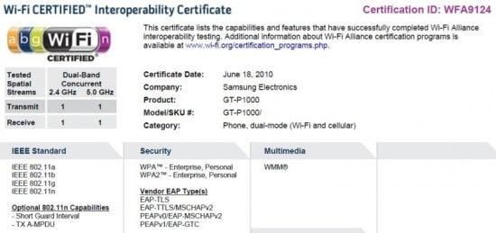 Tabletowo.pl Samsung Galaxy Tab GT-P1000 zyskał certyfikat WiFi Ciekawostki Nowości Plotki / Przecieki Samsung