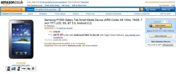 Tabletowo.pl Cena Samsunga Galaxy Tab w Amazon to 680 funtów Nowości Samsung
