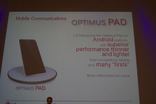 Tabletowo.pl Premiera tabletu LG Optimus Pad w pierwszym kwartale 2011 roku LG Nowości Plotki / Przecieki