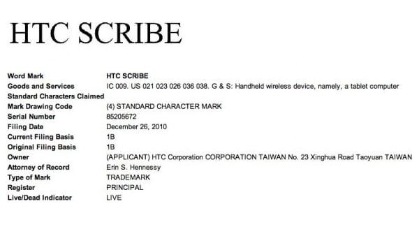 Tabletowo.pl HTC Scribe 10-calowym tabletem z Androidem? Nowości Plotki / Przecieki