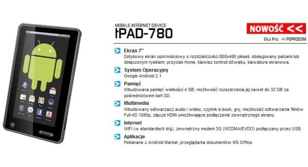 Tabletowo.pl tPAD-780. Polski tablet internetowy z Androidem 2.1 Nowości