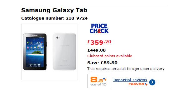 Tabletowo.pl Tesco obniża cenę Galaxy Tab, a Xoom musi wygrać Motorola Nowości Samsung