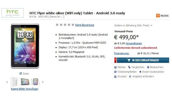 Tabletowo.pl Cena HTC Flyer bez 3G to 499 euro Nowości Plotki / Przecieki