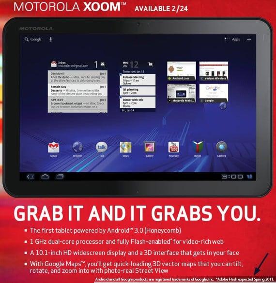 Motorola Xoom bez obsługi Flash w dniu sprzedaży 29