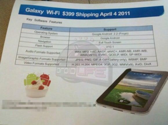 Tabletowo.pl Premiera Samsunga Galaxy Tab bez 3G 4 kwietnia. Cena? 400 dolarów Nowości Plotki / Przecieki Samsung