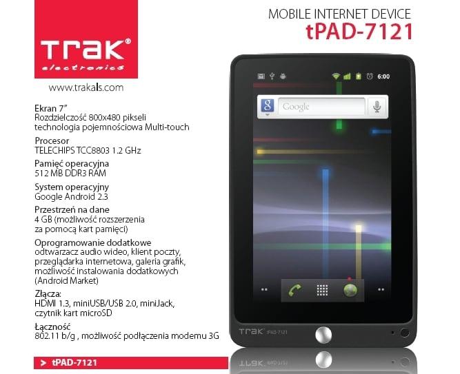 Tabletowo.pl tPad-7121 - kolejny tablet od Trak. Ciekawszy od poprzednika Nowości