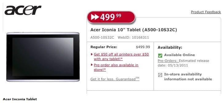 Acer Iconia Tab A500 w kanadyjskiej przedsprzedaży