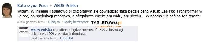 Cena Asusa Eee Pad Transformer w Polsce to 1899 złotych (update) 19