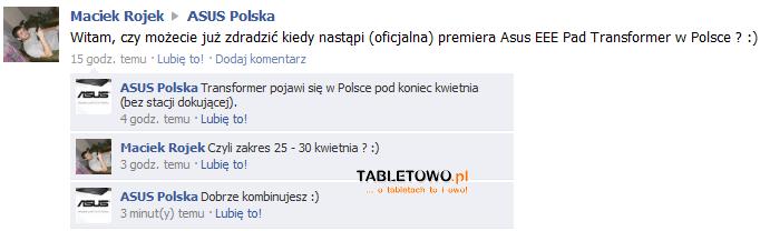 Tabletowo.pl Asus Eee Pad Transformer w Polsce pod koniec kwietnia Nowości