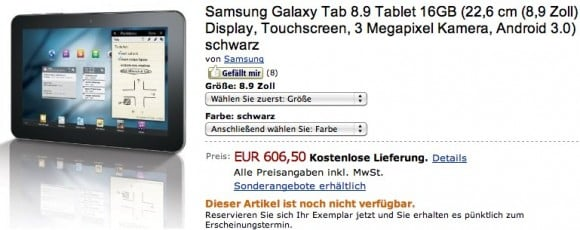 Tabletowo.pl Poznaliśmy cenę Samsunga Galaxy Tab 8.9 z 3G Nowości Samsung