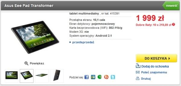 Tabletowo.pl Cena Asusa Eee Pad Transformer w Polsce będzie wyższa niż zapowiadano (?) (update) Nowości