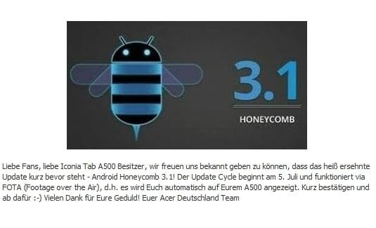 Tabletowo.pl Android 3.1 dla Acera Iconia Tab A500 od 5 lipca Nowości