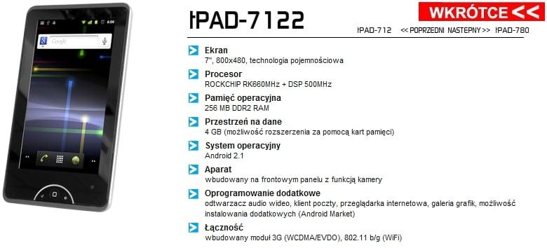 Trak tPad-7122. Tani tablet z 3G i Androidem 18