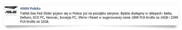 Tabletowo.pl Asus Eee Pad Slider na poczatku sierpnia w Polsce, znamy ceny! Nowości