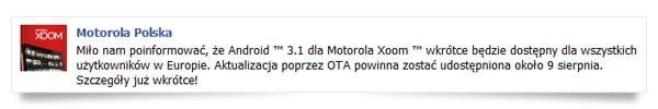 Tabletowo.pl Android Honeycomb 3.1 dla Motoroli Xoom już 9 sierpnia Motorola Nowości