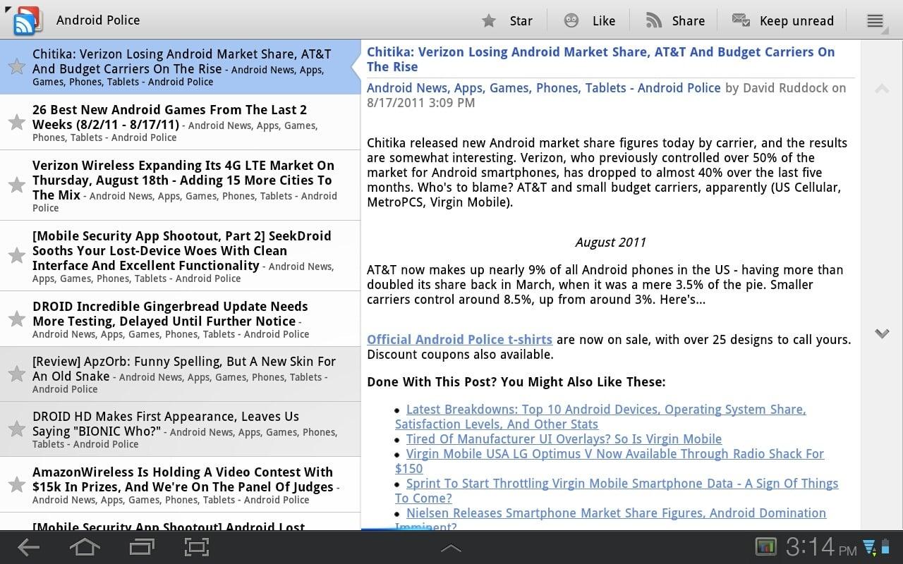 Tabletowo.pl Google Reader ze wsparciem dla tabletów z Androidem Honeycomb Aplikacje Nowości