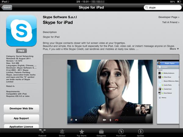 Tabletowo.pl Już jest Skype na iPada! (update 2: jest!) Aplikacje Apple Nowości