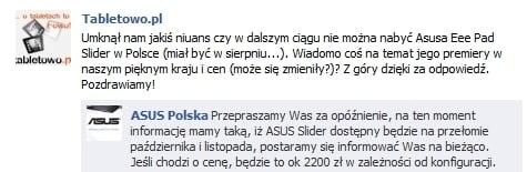 Tabletowo.pl Asus Eee Pad Slider w Polsce na przełomie października i listopada Nowości