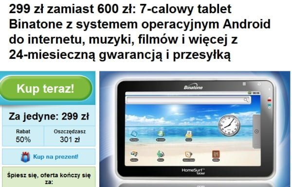 Tabletowo.pl Tablet Binatone dla niewymagających za 299 złotych - tylko dziś Ciekawostki Nowości