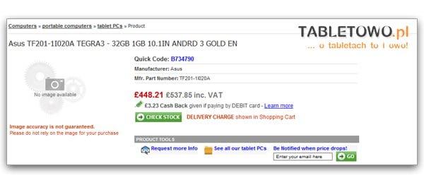 Tabletowo.pl Exclusive: Asus Eee Pad Transformer 2 za £537 już 7 listopada? (update) Nowości Plotki / Przecieki