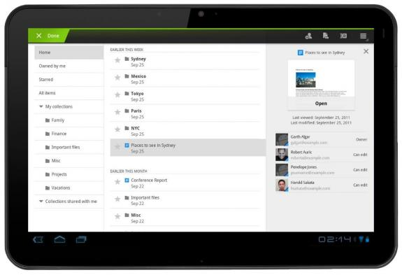 Tabletowo.pl Google Docs na tablety z Honeycomb z przyjemniejszym interfejsem Aplikacje Nowości
