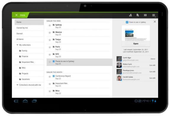 Google docs tablet honeycomb