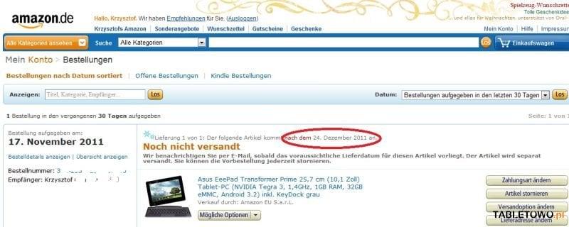 Tabletowo.pl Asus Eee Pad Transformer Prime w przedsprzedaży na Amazon.de. Kiedy wysyłka? Nowości