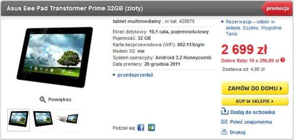 Tabletowo.pl Asus Transformer Prime w Euro - kolejne starcie. Tym razem wersja złota Nowości