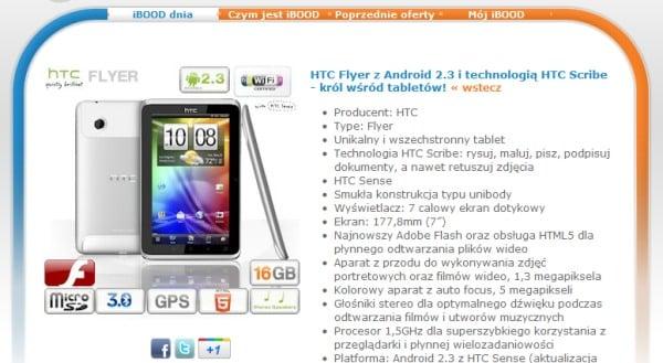 Tabletowo.pl Promocja: HTC Flyer za 1200 złotych w iBood Nowości Promocje