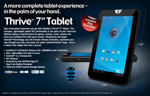Tabletowo.pl Toshiba Thrive 7 debiutuje w Stanach Nowości Toshiba
