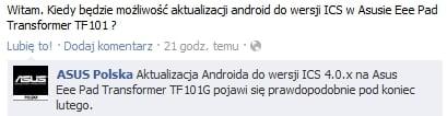 Tabletowo.pl Asus Polska: Android ICS dla Eee Pad Transformer (prawdopodobnie) pod koniec lutego Asus Nowości