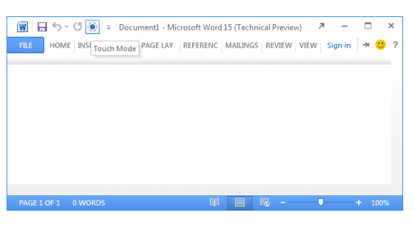 microsoft office 15 touch mode