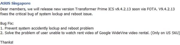 Tabletowo.pl Asus Transformer Prime z kolejną poprawką - v9.4.2.13 Asus Nowości