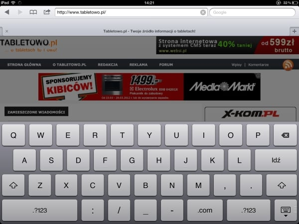 klawiatura nowy ipad