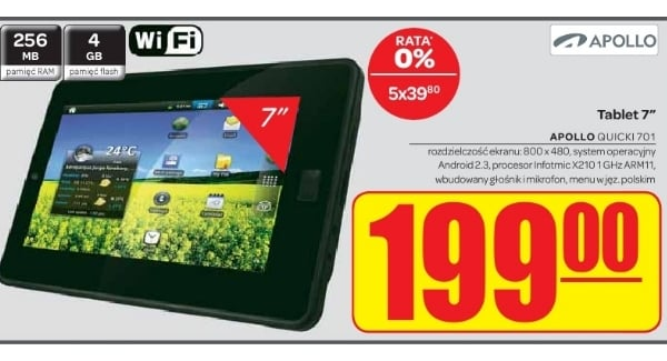 tablet Apollo Quicki 701 199 złotych