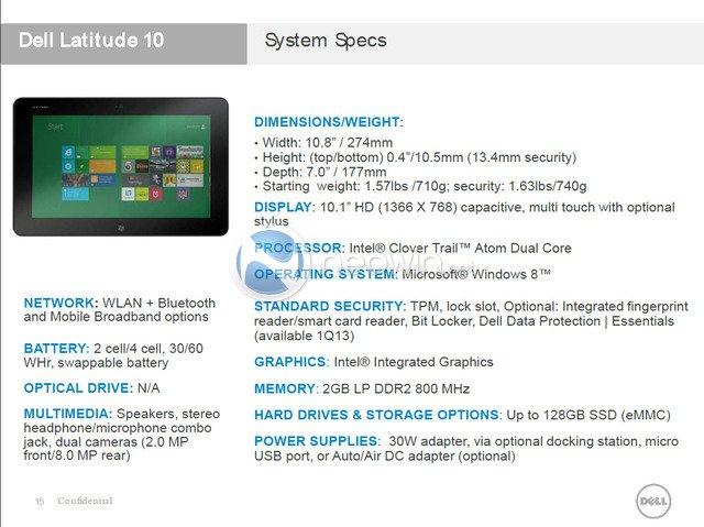 Znamy specyfikację tabletu Dell Latitude 10 z Windows 8 22