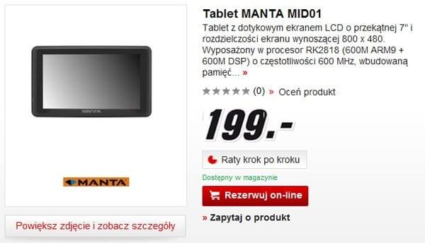 Tabletowo.pl Tablet Manta MID01 (z GPS) w MediaMarkt za 199 złotych Nowości