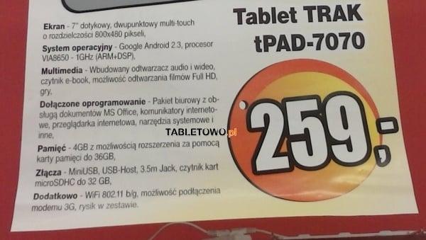 Tabletowo.pl Trak tPad-7070 za 259 złotych w Polo Market Nowości