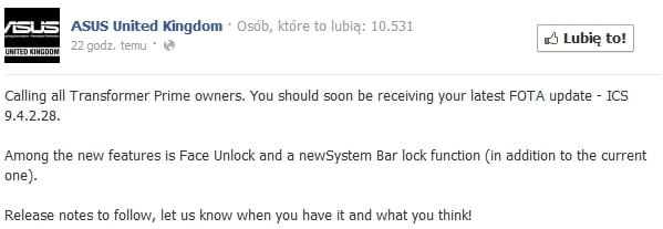Tabletowo.pl Asus Transformer Prime z aktualizacją oprogramowania 9.4.2.28 (dodano Face Unlock) Asus Nowości