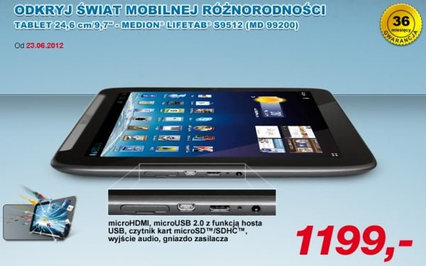 """Tabletowo.pl Medion LifeTab S9512 9,7"""" za 1199 złotych w Aldi Nowości"""