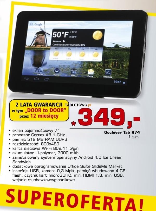 Tabletowo.pl GoClever Tab R74 za 349 złotych w Netto Nowości Promocje