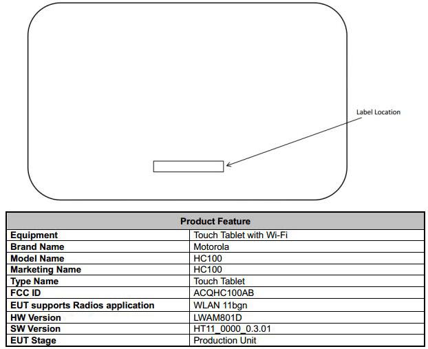 Tabletowo.pl HC100, nowy tablet Motoroli, odwiedza komisję FCC Motorola Nowości Plotki / Przecieki