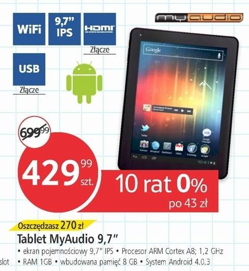 """Tabletowo.pl MyAudio 9,7"""": IPS, 1GB RAM, Android 4.0, 8GB pamięci za 430 złotych Nowości"""