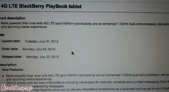 Tabletowo.pl BlackBerry PlayBook 3G+/4G wyceniony na 550 dolarów. Premiera wkrótce BlackBerry Plotki / Przecieki