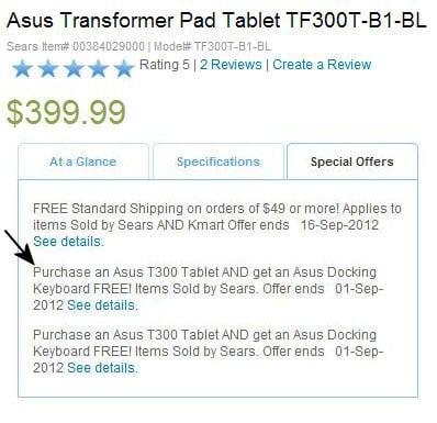Tabletowo.pl Promocja w USA: Asus Transformer Pad TF300 z darmową klawiaturą Asus Ciekawostki Nowości
