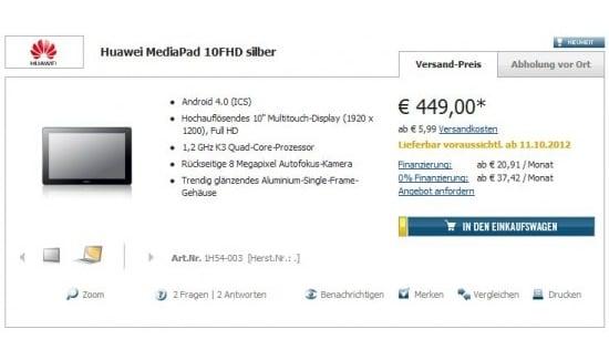 Tabletowo.pl Huawei MediaPad 10 FHD na rynku dopiero w październiku? Nowości Plotki / Przecieki
