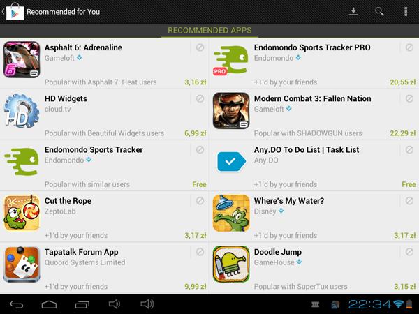 Tabletowo.pl Osobiste rekomendacje aplikacji po cichu debiutują w Google Play Aplikacje