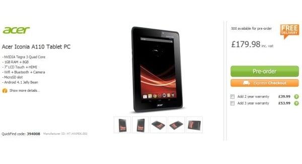 Tabletowo.pl Zbliża się premiera Acera Iconia Tab A110 z Androidem Jelly Bean Acer Nowości
