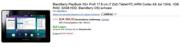 Tabletowo.pl BlackBerry PlayBook 3G+ dostępny w Amazon.de za 584 euro BlackBerry Nowości