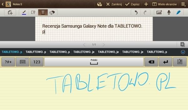 notatka ręczna galaxy note 10.1